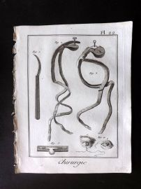 Diderot 1780's Antique Medical Print. Chirurgie 22 Surgical Instruments